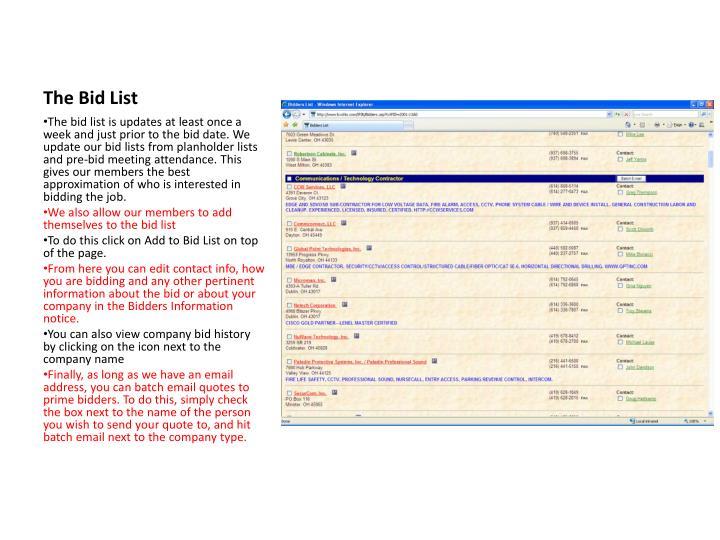 The Bid List