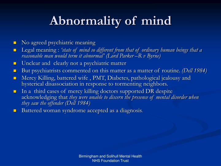 Abnormality of mind