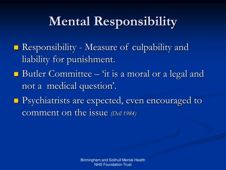 Mental Responsibility