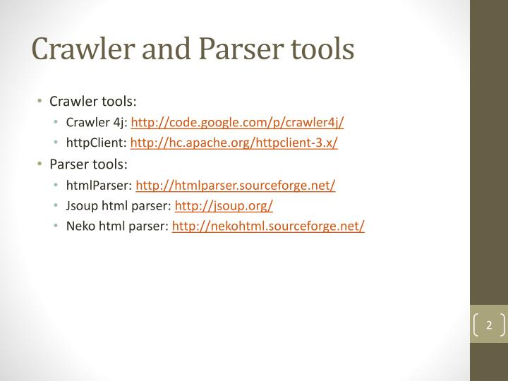 Crawler and Parser tools