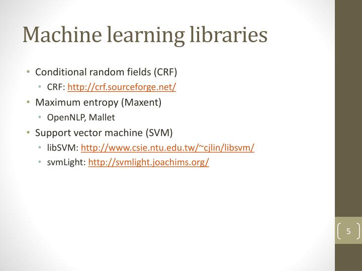 Machine learning libraries