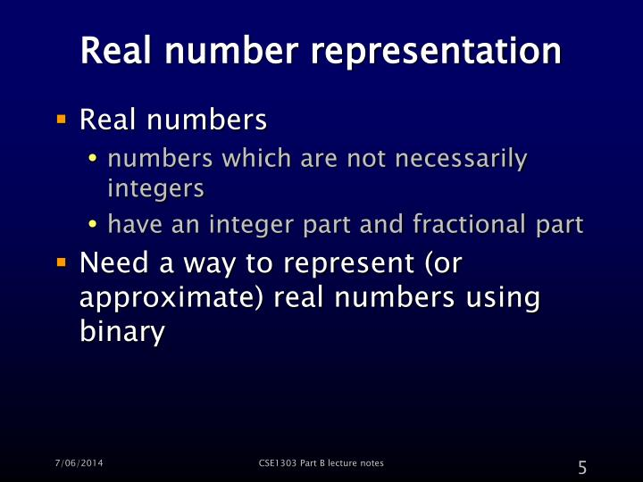 Real number representation