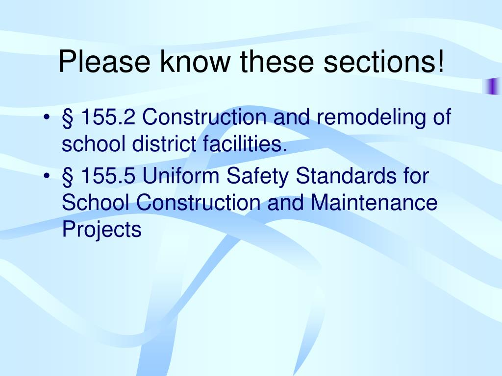 Please know these sections!