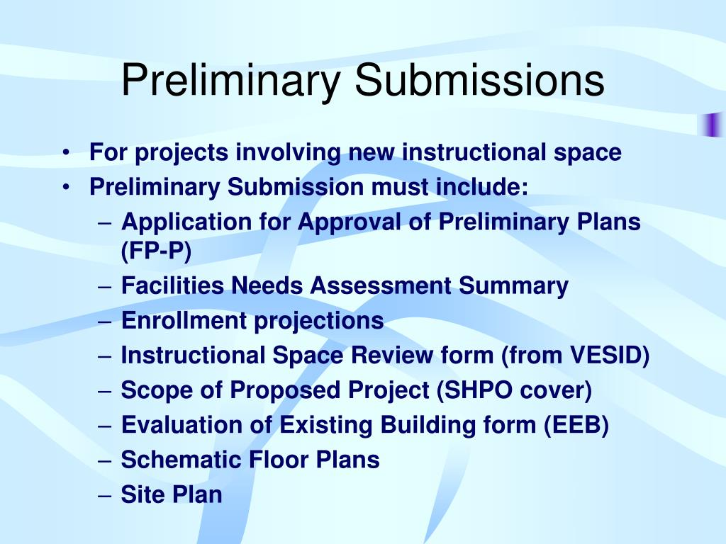 Preliminary Submissions
