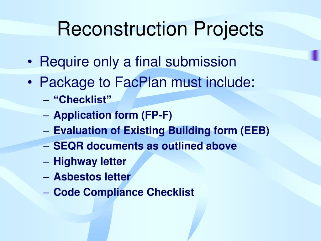 Reconstruction Projects