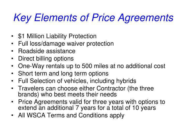 Key Elements of Price Agreements