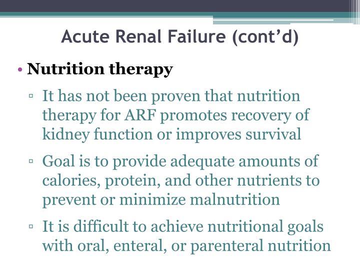 Acute Renal Failure (cont'd)