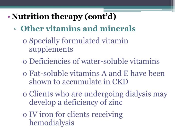 Nutrition therapy (cont'd)