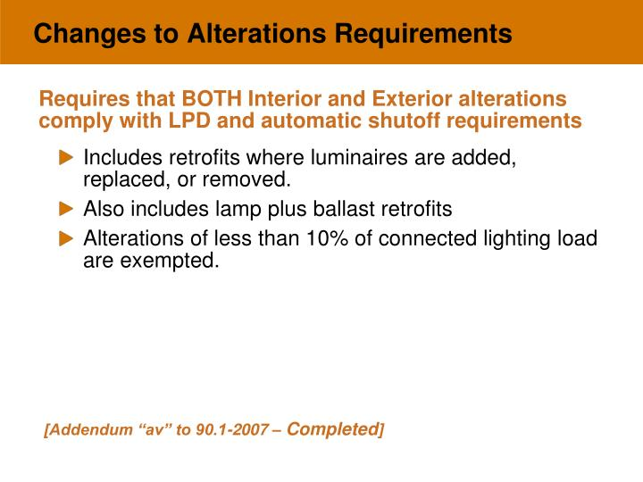 Changes to Alterations Requirements