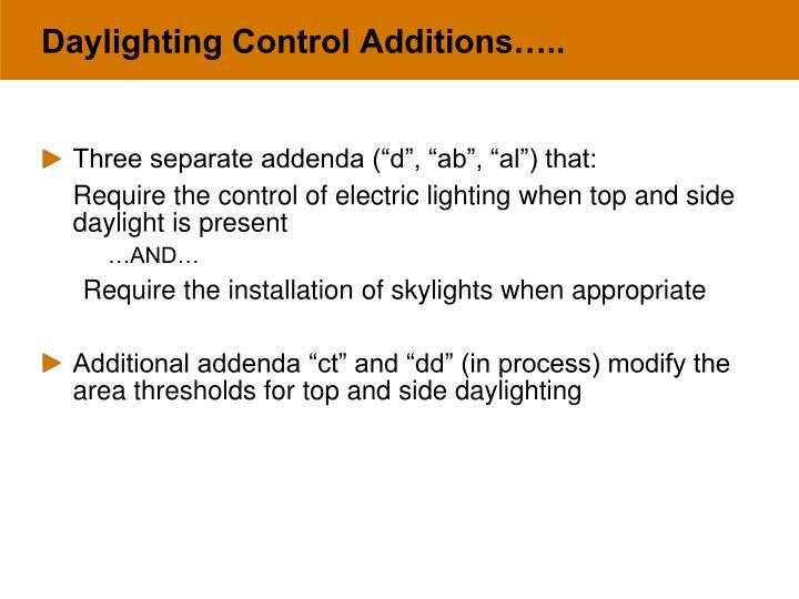 Daylighting Control Additions…..