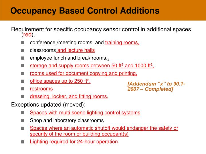 Occupancy Based Control Additions