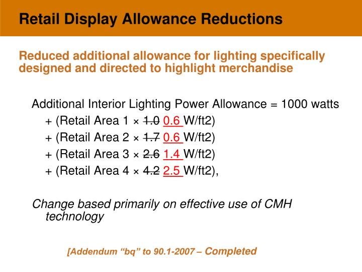 Retail Display Allowance Reductions