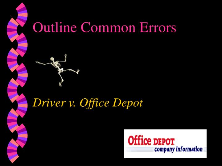 Outline Common Errors