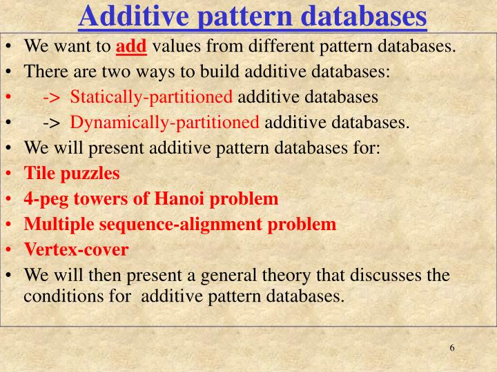 Additive pattern databases
