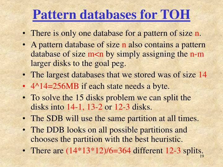 Pattern databases for TOH