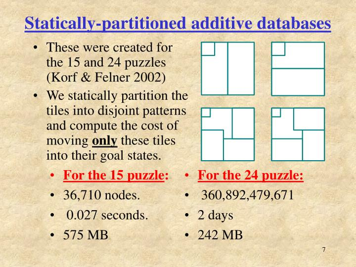 Statically-partitioned additive databases