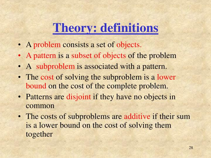 Theory: definitions