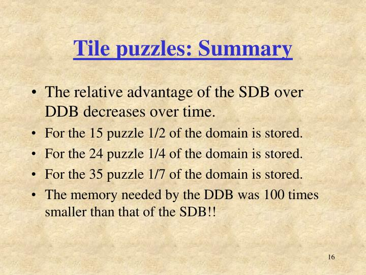 Tile puzzles: Summary