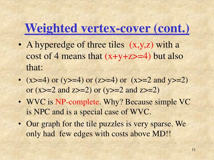 Weighted vertex-cover (cont.)
