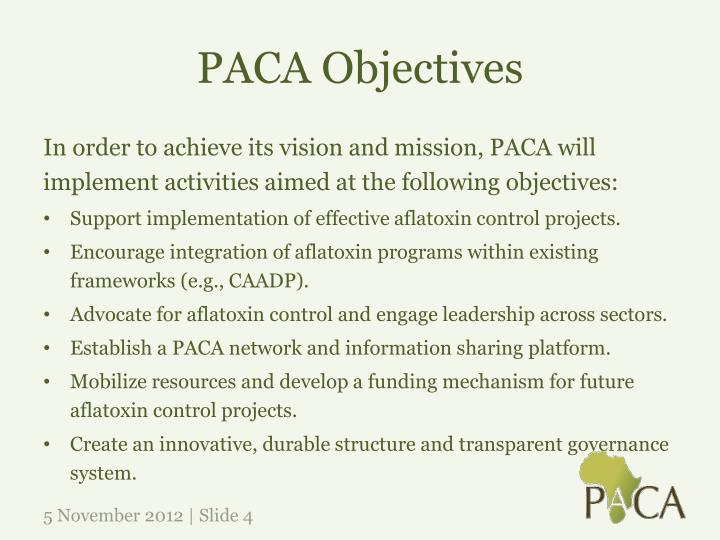 PACA Objectives