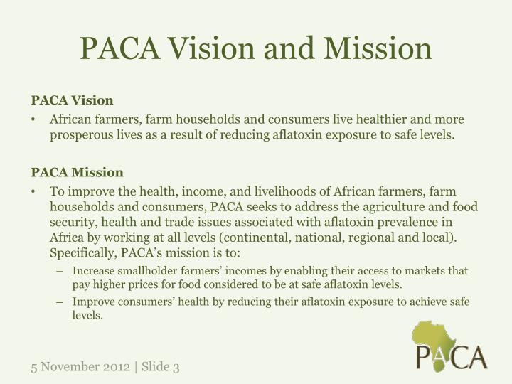 Paca vision and mission