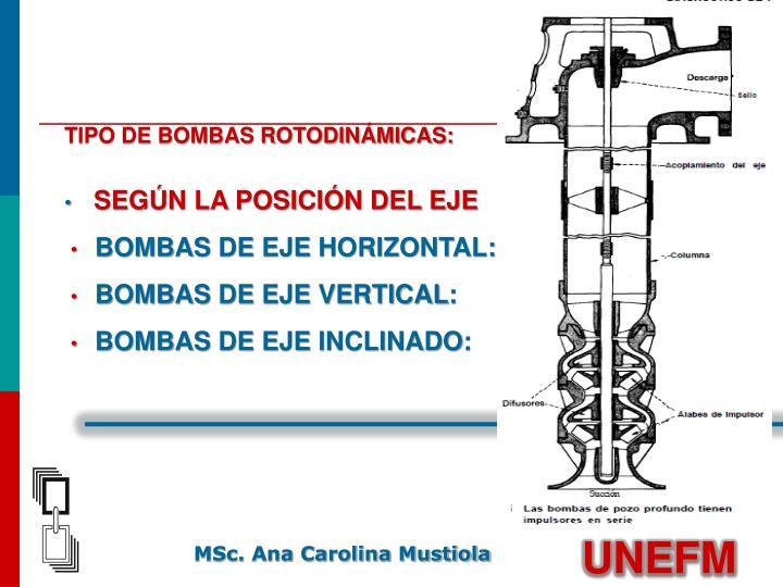 TIPO DE BOMBAS ROTODINÁMICAS: