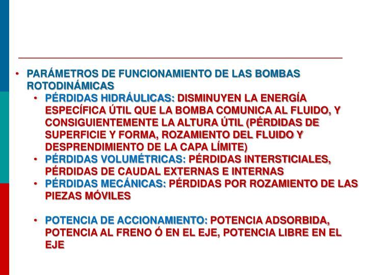 Parámetros de funcionamiento de las bombas rotodinámicas