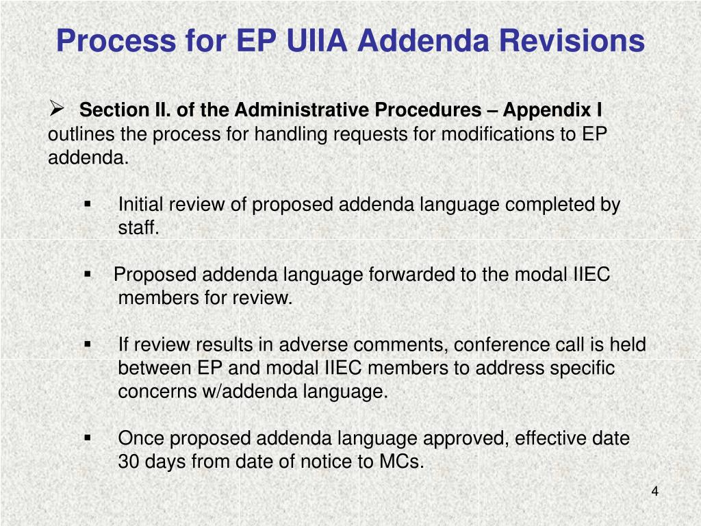 Process for EP UIIA Addenda Revisions