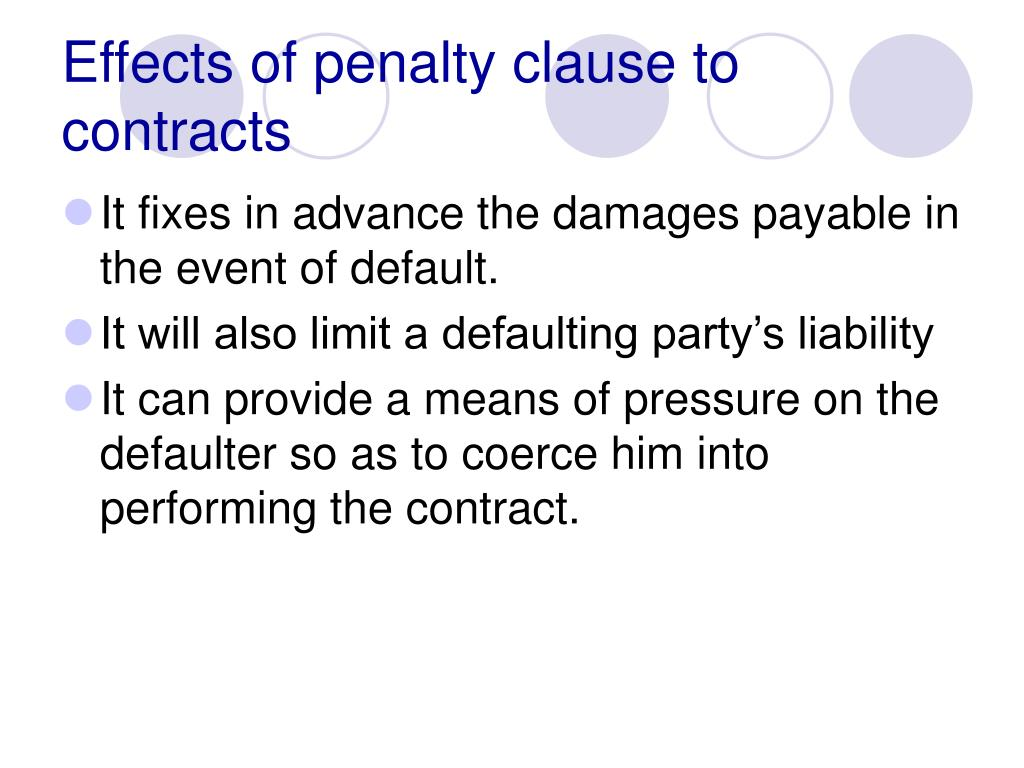 Effects of penalty clause to contracts