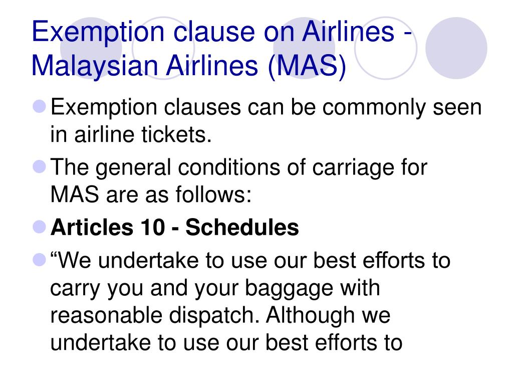 Exemption clause on Airlines - Malaysian Airlines (MAS)