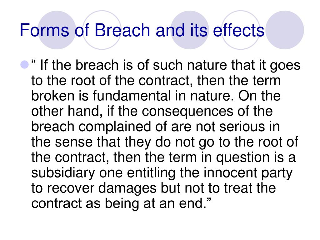 Forms of Breach and its effects