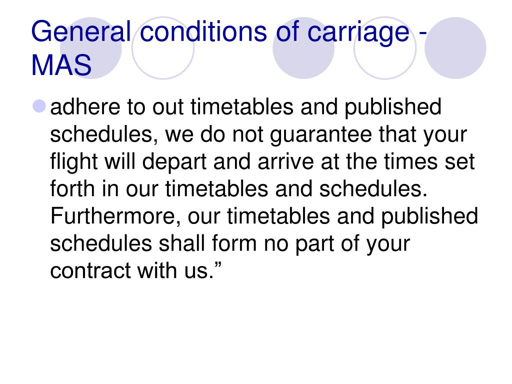 General conditions of carriage - MAS