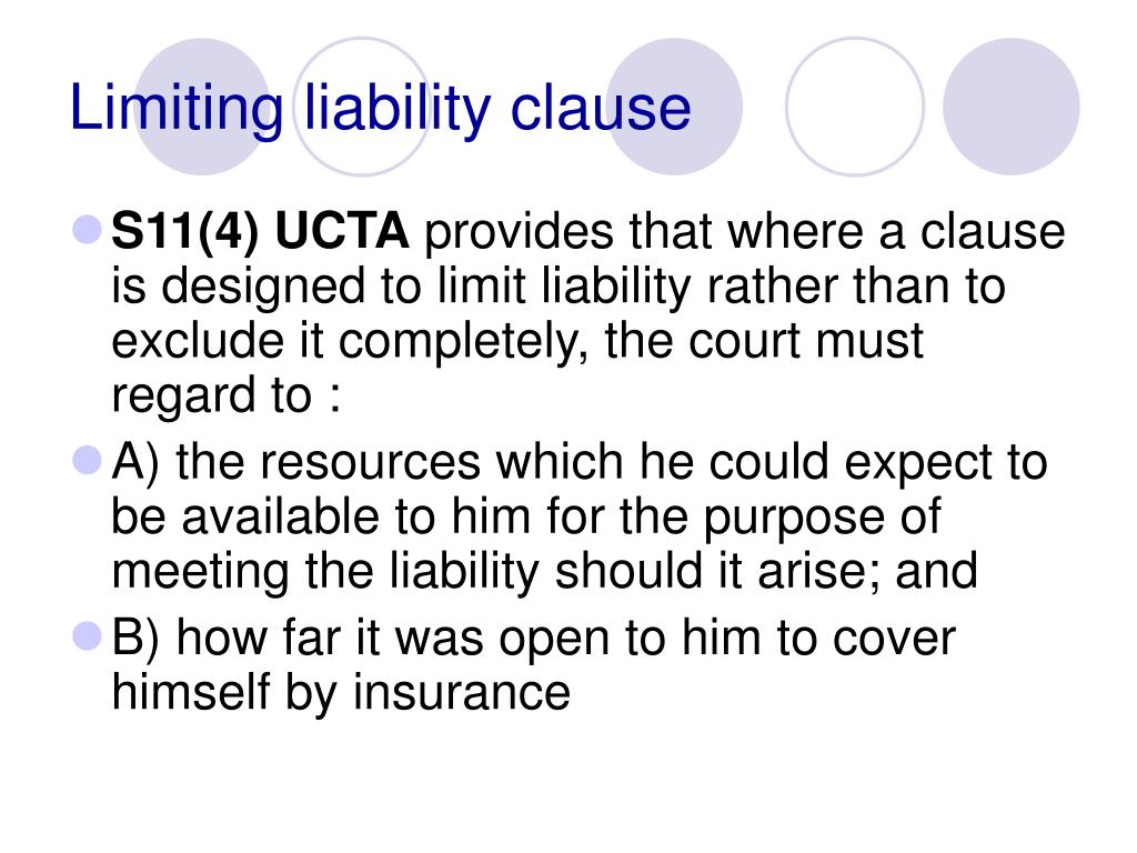 Limiting liability clause