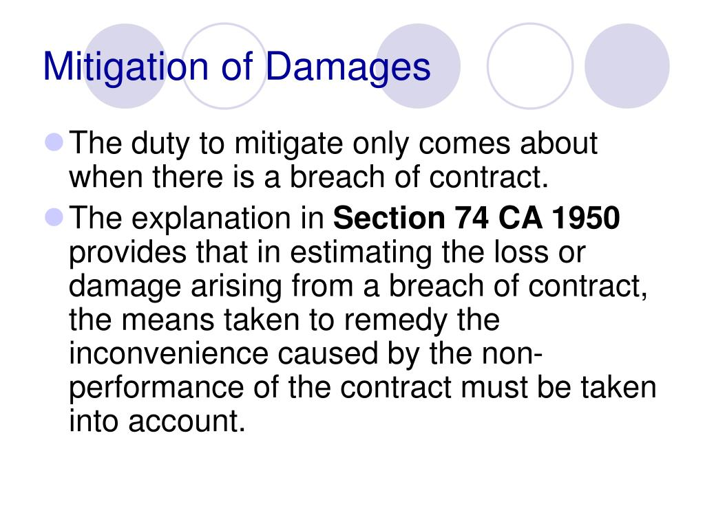 Mitigation of Damages