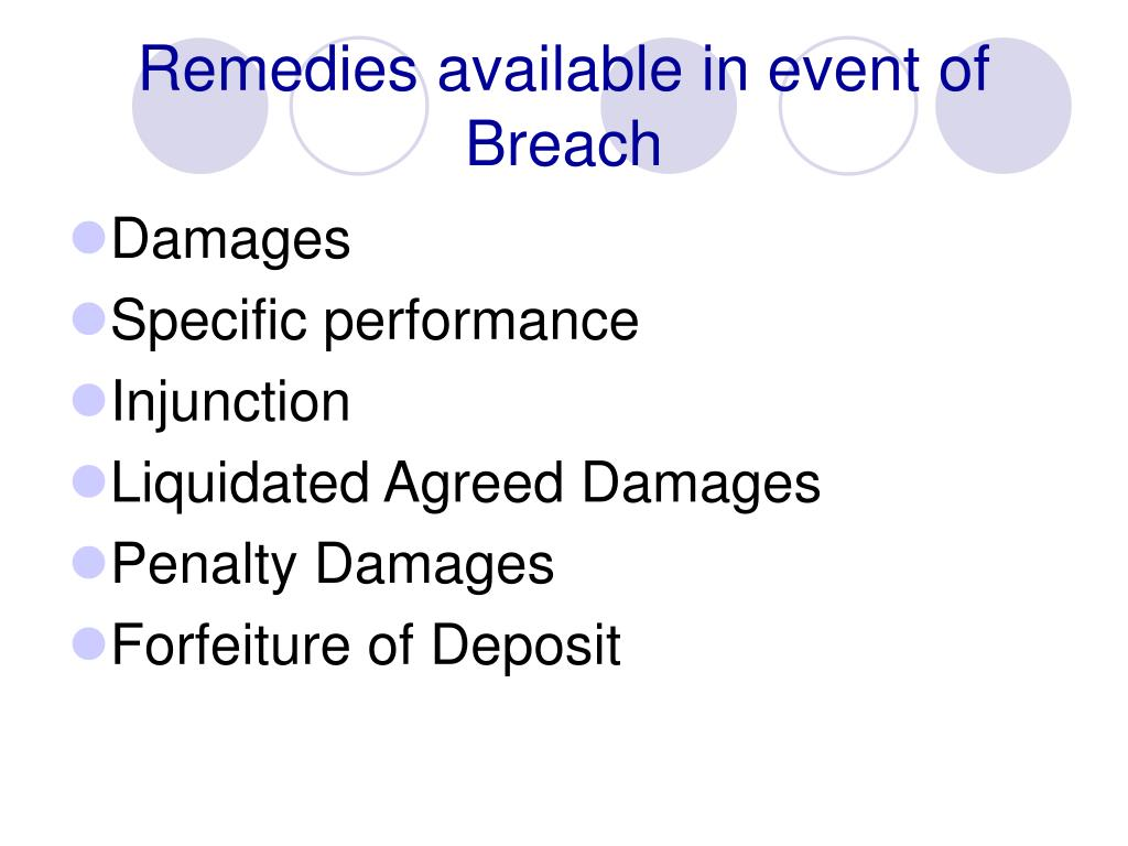 Remedies available in event of Breach