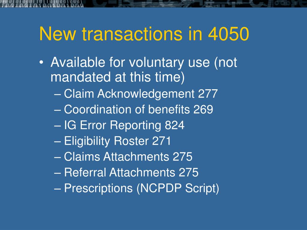 New transactions in 4050
