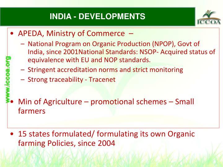 INDIA - DEVELOPMENTS