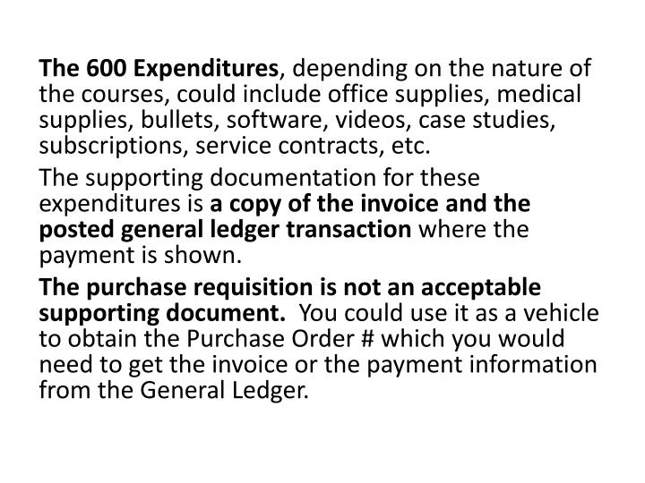 The 600 Expenditures