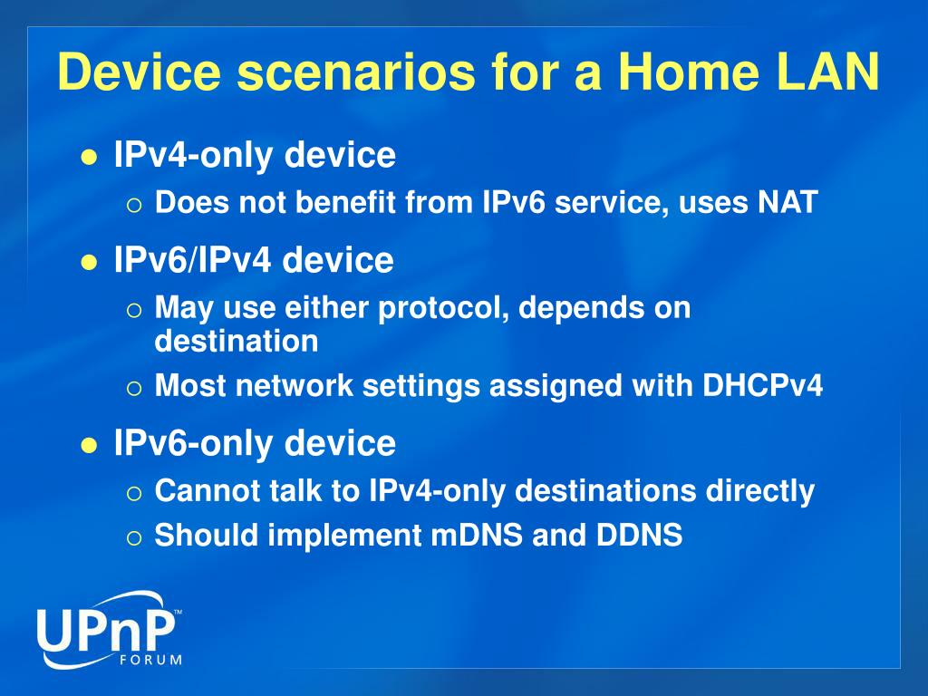 Device scenarios for a Home LAN