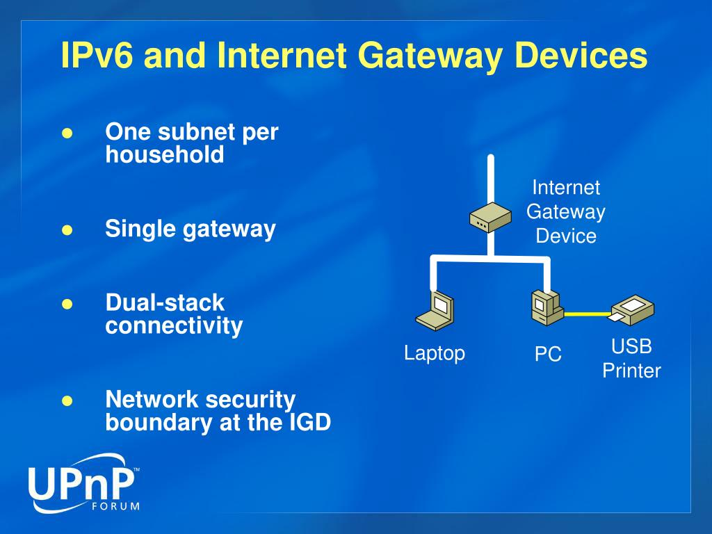 IPv6 and Internet Gateway Devices