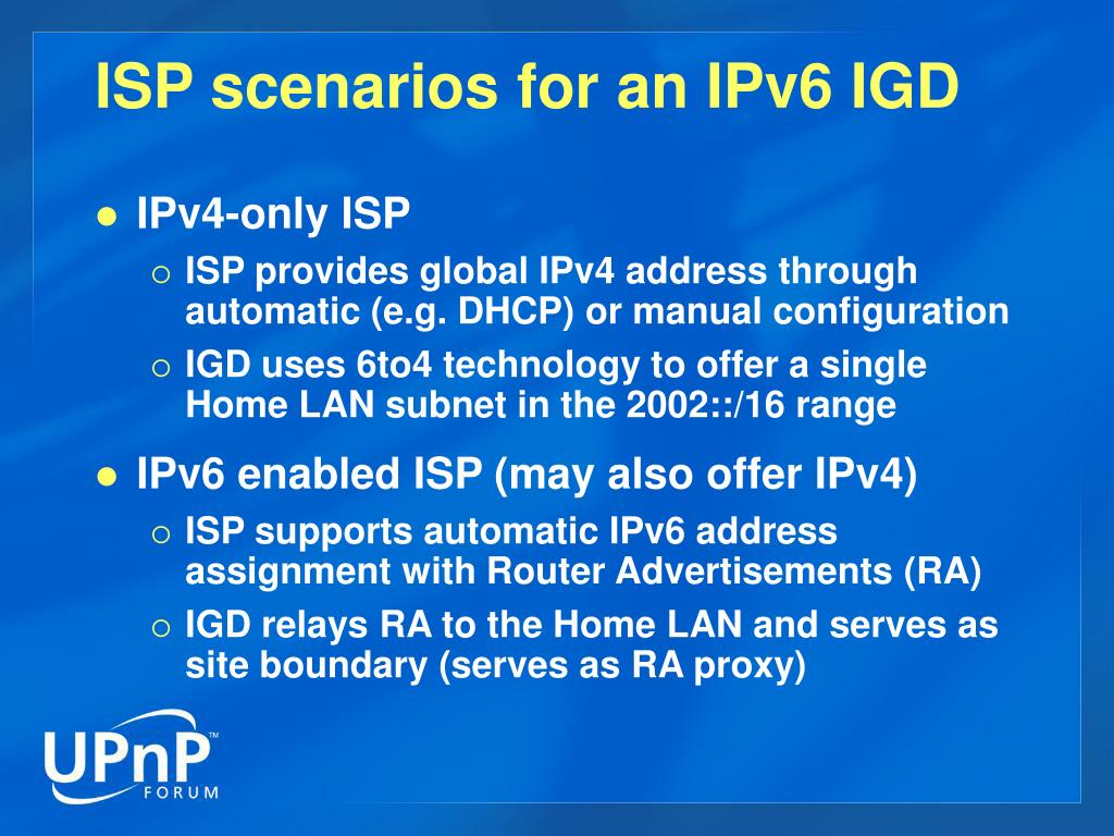 ISP scenarios for an IPv6 IGD