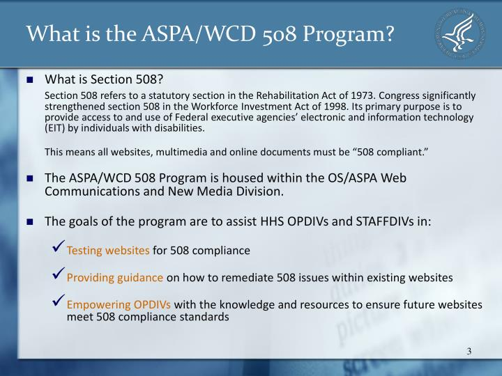 What is the aspa wcd 508 program