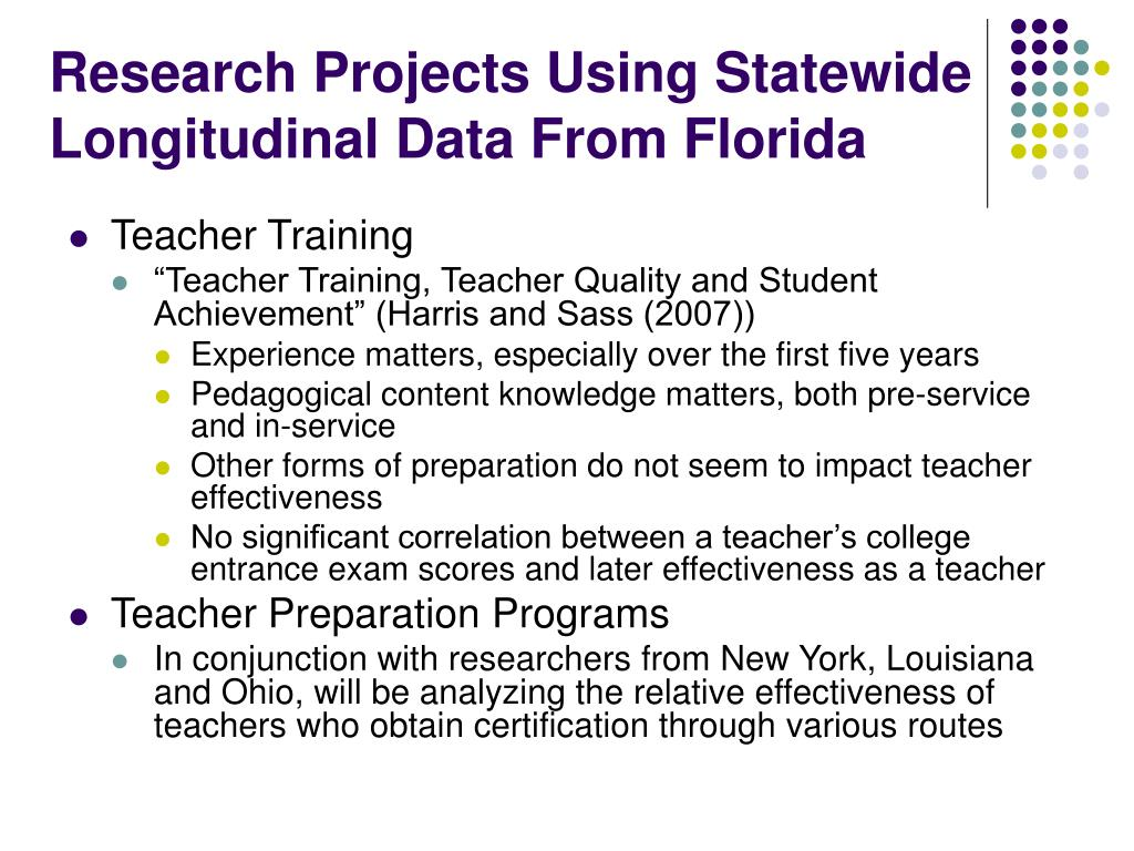 Research Projects Using Statewide Longitudinal Data From Florida