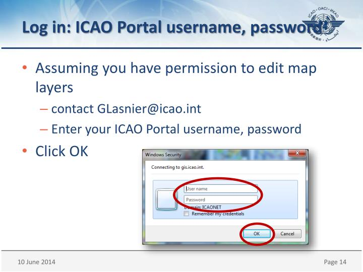 Log in: ICAO Portal username, password