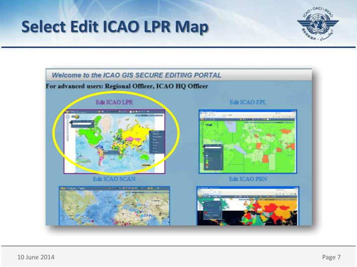 Select Edit ICAO LPR Map