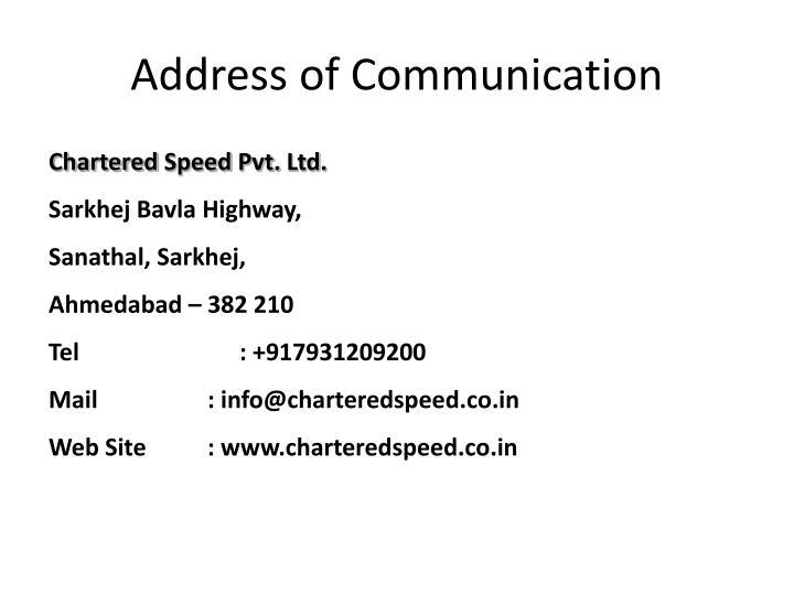 Address of Communication
