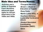 main idea and terms names