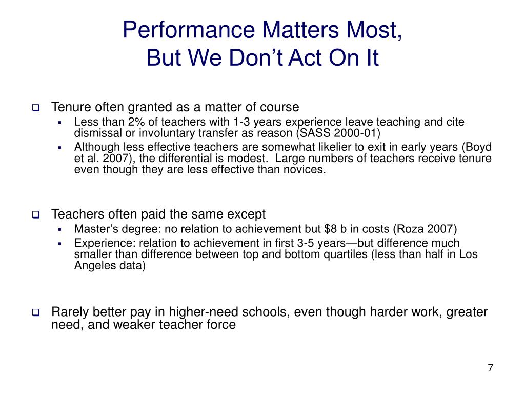 Performance Matters Most,