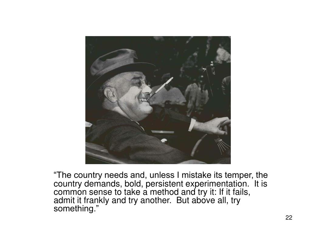 """""""The country needs and, unless I mistake its temper, the country demands, bold, persistent experimentation.  It is common sense to take a method and try it: If it fails, admit it frankly and try another.  But above all, try something."""""""