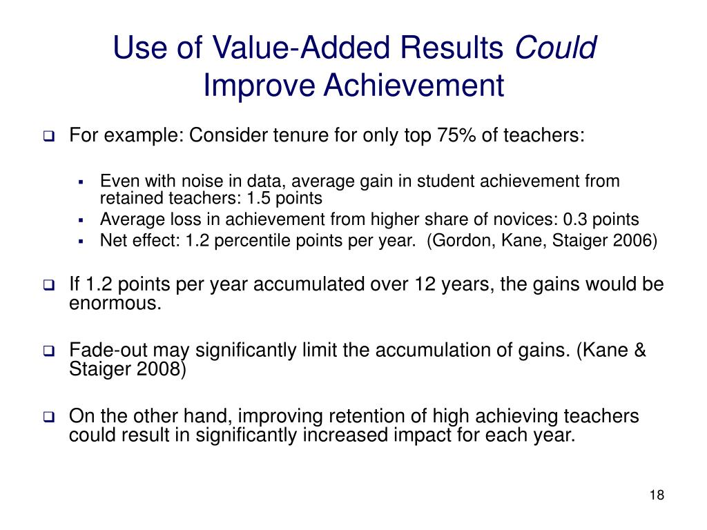 Use of Value-Added Results